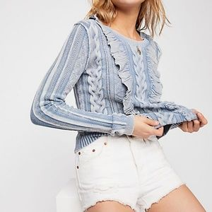 Free People Prince Charming Cable sweater blue